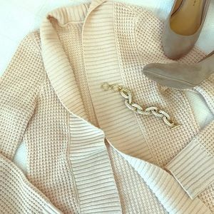 New York & Company blush pink waffle knit cardigan